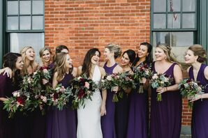 Bridesmaids in Purple Carrying Dahlias and Eucalyptus