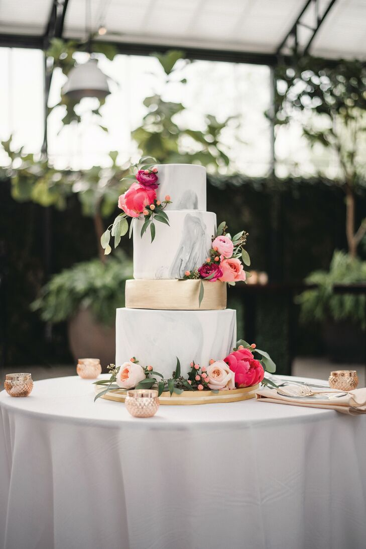 Gray Marbled Wedding Cake at Planterra Conservatory in Detroit, Michigan