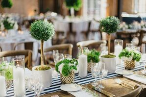 Hamptons-Inspired Striped Table Runners and Tabletop Topiaries