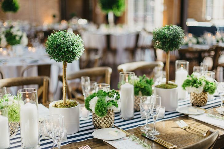 Hamptons Inspired Striped Table Runners And Tabletop Topiaries