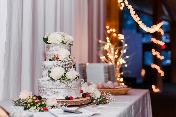 Wintry Rose and Baby's Breath Naked Cake Accents