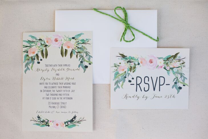 Khrysty and Dylan's invitations from Paper n' Peonies on Etsy set the stage for the affair's natural theme. Escort cards and programs were also original: Khrysty wrote the cards with a gold bold tip calligraphy pen and light pink card stock, and a friend drew the program design by hand.