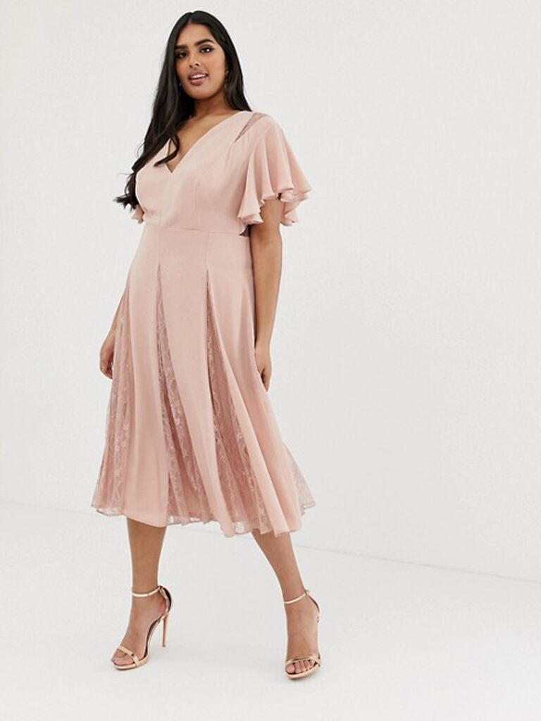 Short dusty rose plus size bridesmaid dress