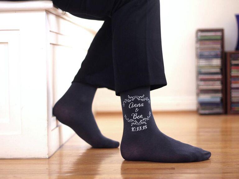 Wedding logo groom groomsmen socks