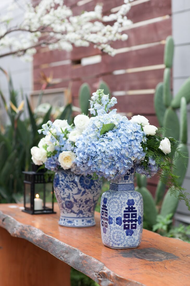 """""""As a wedding coordinator myself, I found pinning down a specific theme or color fairly difficult. There were so many directions I could take it! My love for blue and white ginger jars has remained pretty consistent through my life and I knew I wanted to incorporate them,"""" says Lauren."""