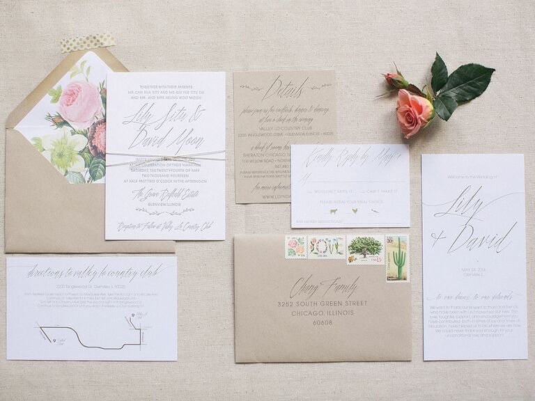 A glossary of important wedding invitation terms tan and pink wedding stationery junglespirit