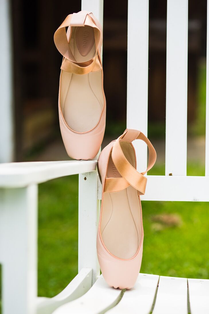 "The bride honored her love of dance, which she studied throughout college and graduate school, with ""pointe shoes"" style footwear from Chloe."