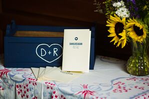Navy and White Wedding Programs