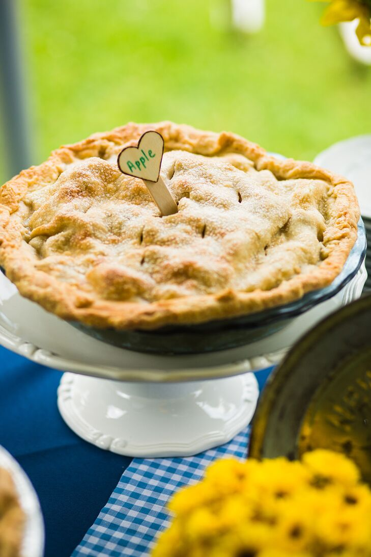 Dan and Reagan decided to against a traditional wedding cake, instead serving a variety of pies including apple, strawberry rhubarb, peach blueberry and summerfruit.