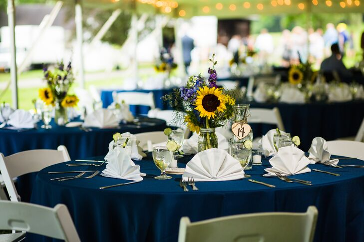 Open Tent Reception with Navy Linens