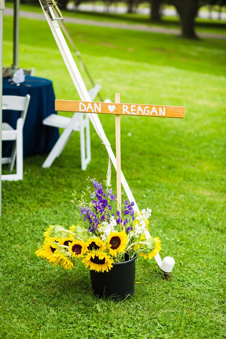 """The bouquets and boutonnieres for the wedding were professionally arranged, but the rest of the flowers were completed by the bride with the help of friends and family members. """"It was a fun afternoon spending time together on the farm before the big day,"""" she says."""