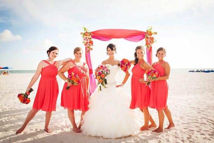 Short Guava Bridesmaid Dresses