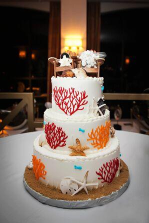 Three-Tier White Beach Wedding Cake