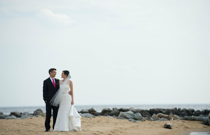 Marietta and Steven planned an elegant day by the bay with bold blues and pinks and clean, modern lines.