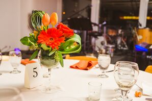 Orange Gerbera Daisy and Tulip Centerpieces
