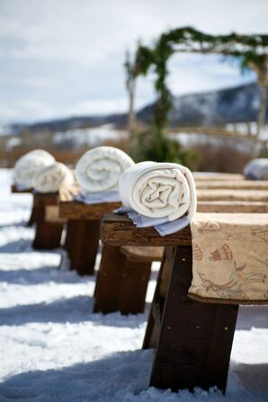 Ivory and Blue Ceremony Blankets