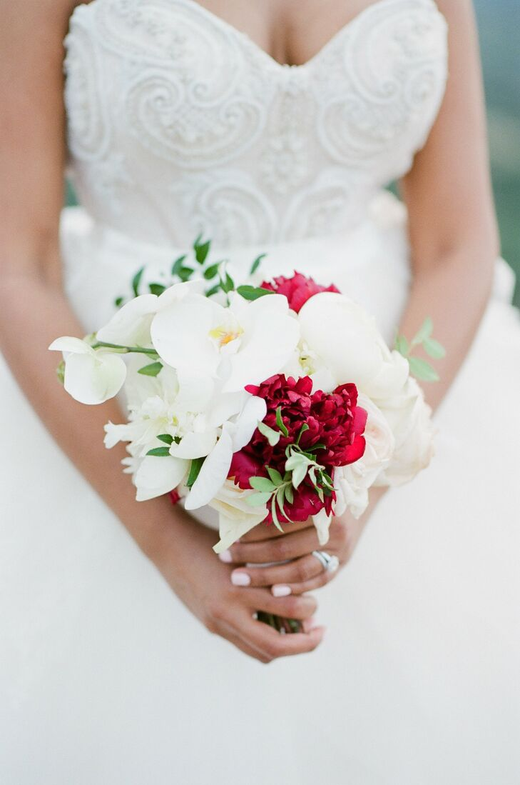 Tight, Glamorous Bouquet with Orchids and Red Peonies