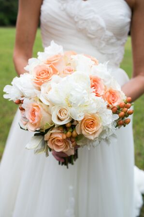Peach Rose and Peony Bridal Bouquet