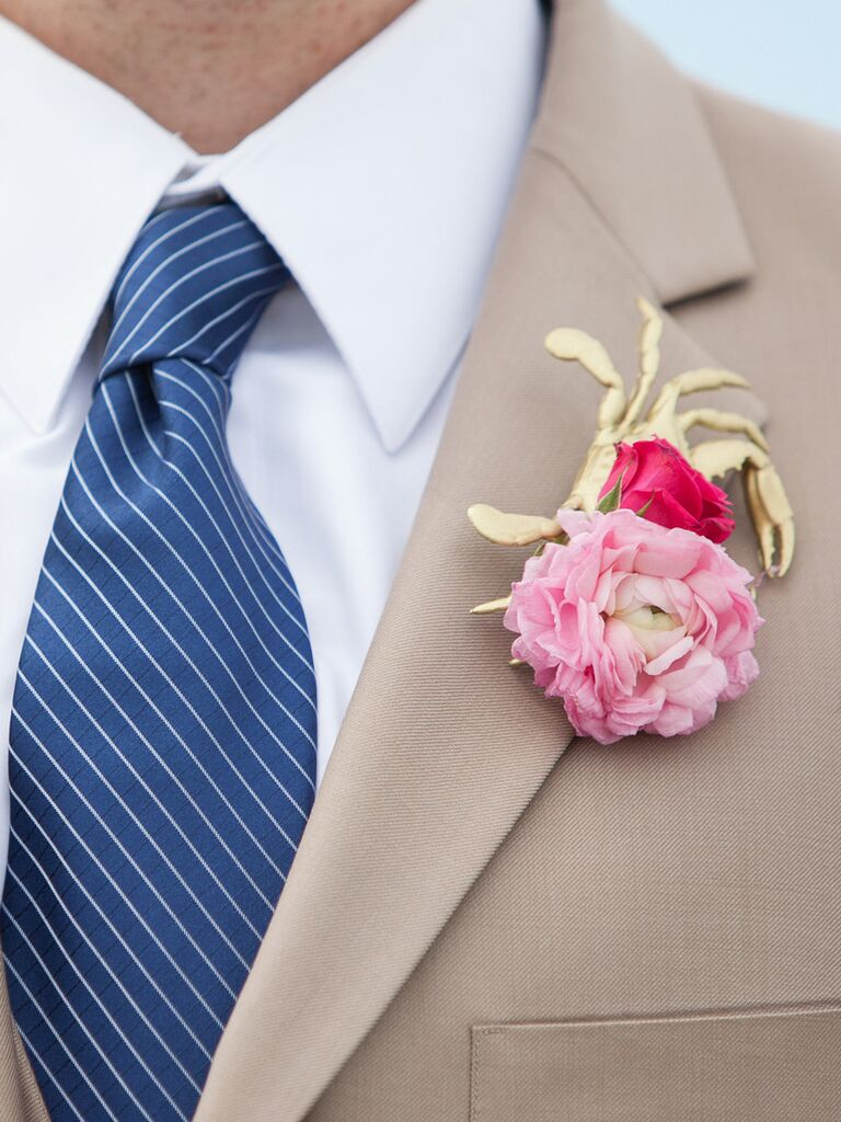 Pink peony boutonniere with a nautical gold crab decal