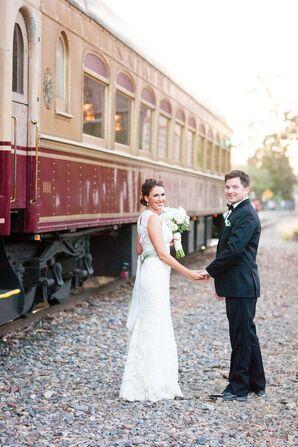 Lace Sheath Jim Hjelm Wedding Dress