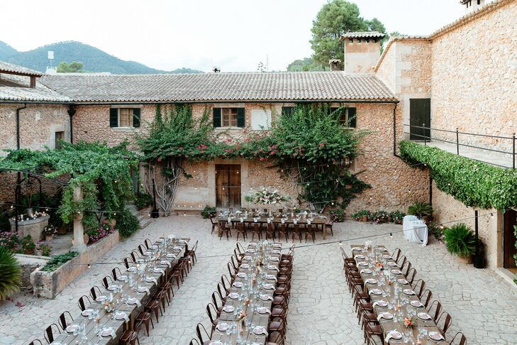 Long Tables for Wedding Reception at Finca Es Cabas in Mallorca, Spain
