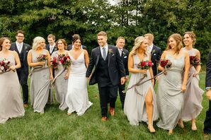 Classic Wedding Party with Gray Dresses and Black Suits