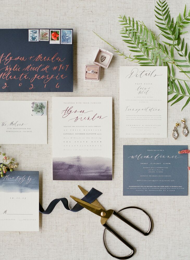 Navy Invitations for Autumn Wedding at The Stave Room in Atlanta, Georgia