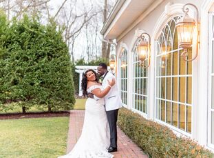 "Inspired by their estate venue's white-and-gold reception space, college sweethearts Tiana Wilson and Naeem Johnson, ""wanted a classic wedding that ex"