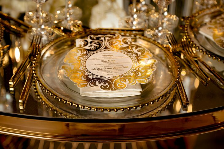 Gold-and-White Place Setting During Reception at Cipriani Wall Street in New York City