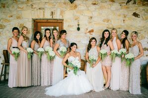 Blush and Silver Bridesmaids Dresses