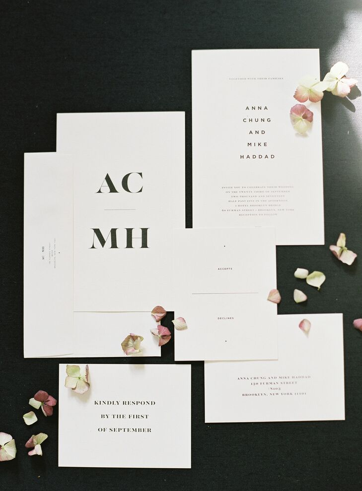 Simple, Modern White Invitations with Black Type