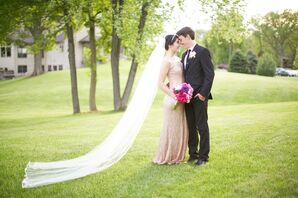 Floor-Length Veil and Gold Reception Dress