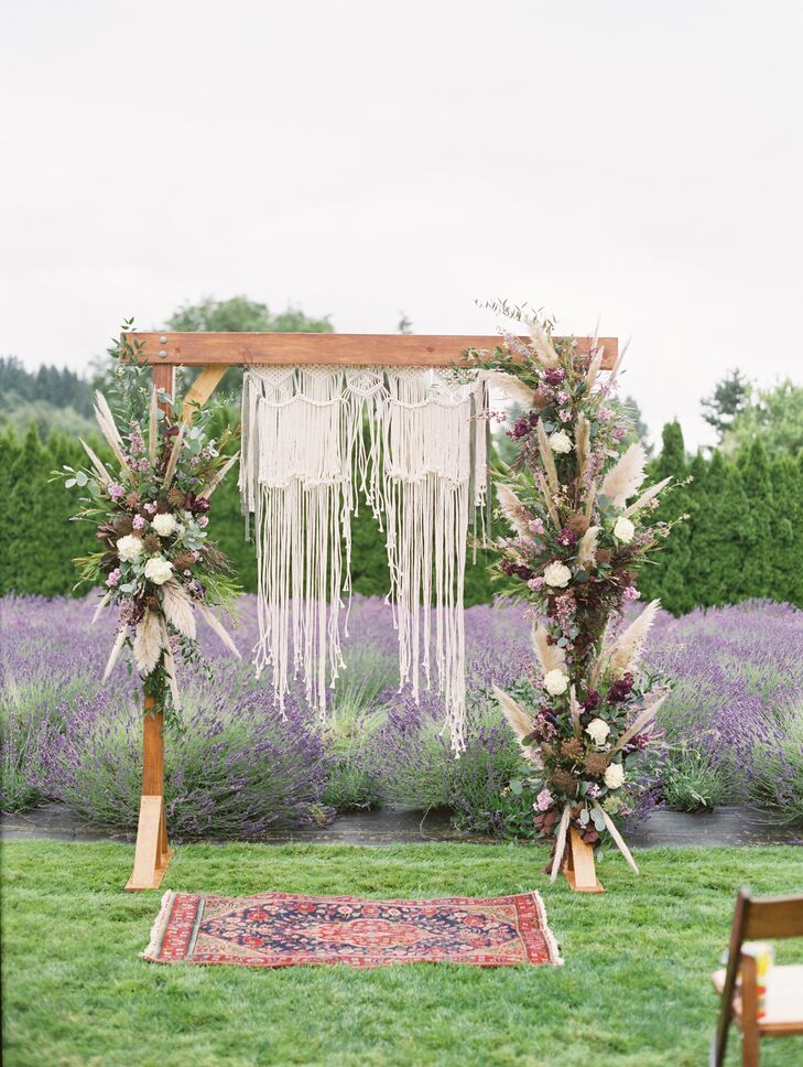 Pampas Grass and Macramé-Draped Wedding Arch