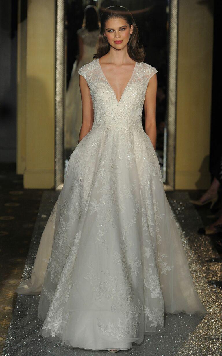 7c80070098320 Oleg Cassini at David's Bridal Spring 2017 cap sleeve A-line wedding dress  with plunging