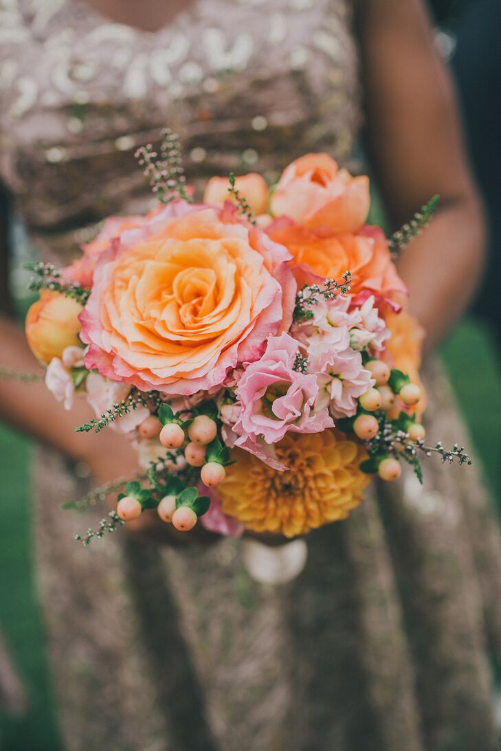 Cora wanted bright colors in the floral bouquets so they would pop against the neutral toned bridesmaid dresses.