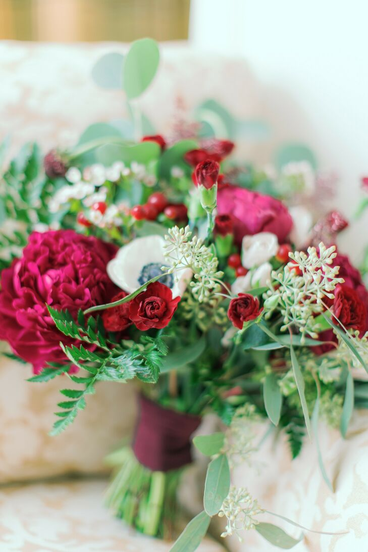 Wedding Bouquet with Burgundy Flowers