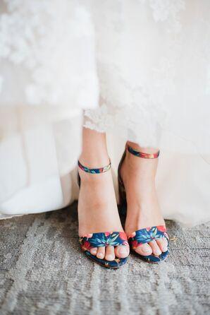 Modern Blue Floral Heels