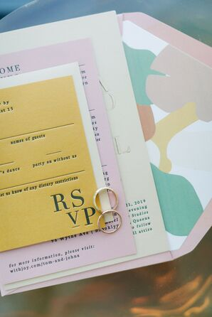 Pastel Invitations for Wedding at Sound River Studios in Long Island City, New York