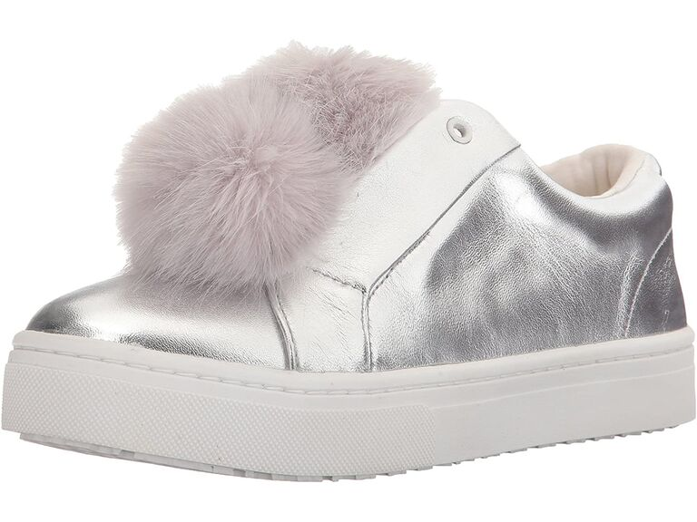 Pom pom silver wedding sneakers