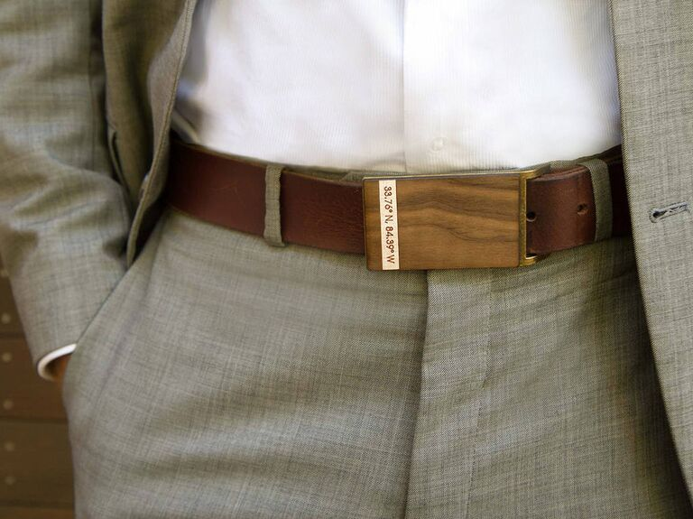 Wood belt 5 year anniversary gift for him