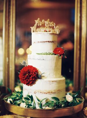 Naked Cake with Gold Topper and Red Dahlias