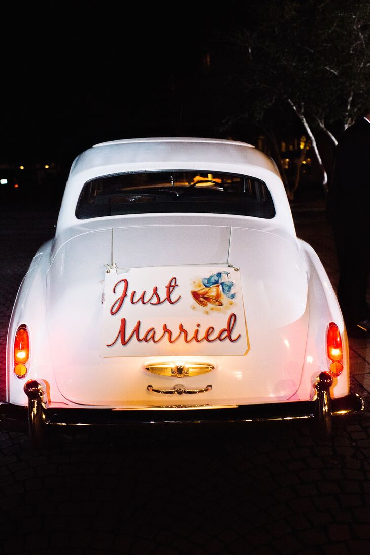 """Bud & Alley's Restaurant & Rooftop Bar was more than the caterer. After the grand bubble exit, Caroline and Christopher slipped into this classic white Rolls-Royce and headed for their after-party at the restaurant. The car also had some of their favorite treats from Whataburger—a surprise for Caroline from Christopher. """"Because it was such a nice car, we weren't allowed to eat in it,"""" Caroline says. """"It smelled so good and we were so hungry that we had to pull over to eat before getting back into the car to go to the after-party."""""""