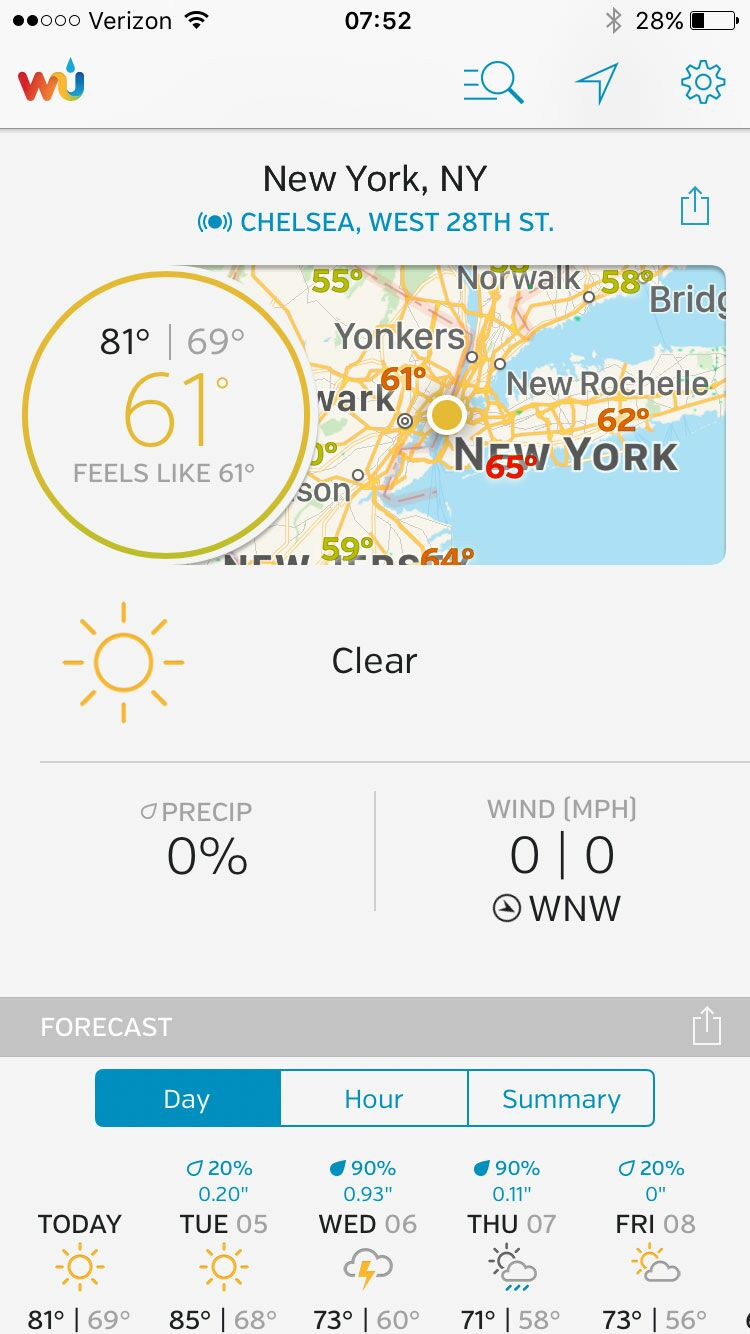 Weather Underground wedding app screenshot