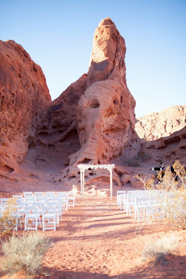 A wedding ceremony set up just in front of some iconic red rocks in the Valley of Fire National Park in Nevada