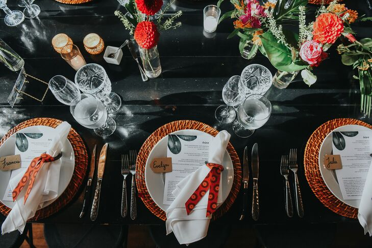 Tropical Place Setting for Wedding at Ebell Long Beach in California
