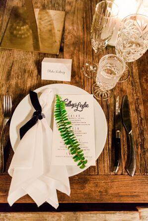 Wood Table, White Place Setting and Fern Leaf