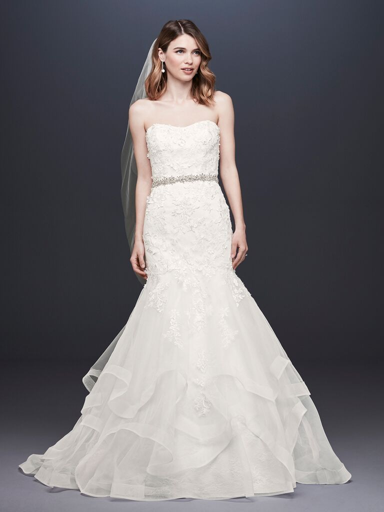 David's Bridal Spring 2019 lace embroidered wedding dress with a mermaid silhouette and belt