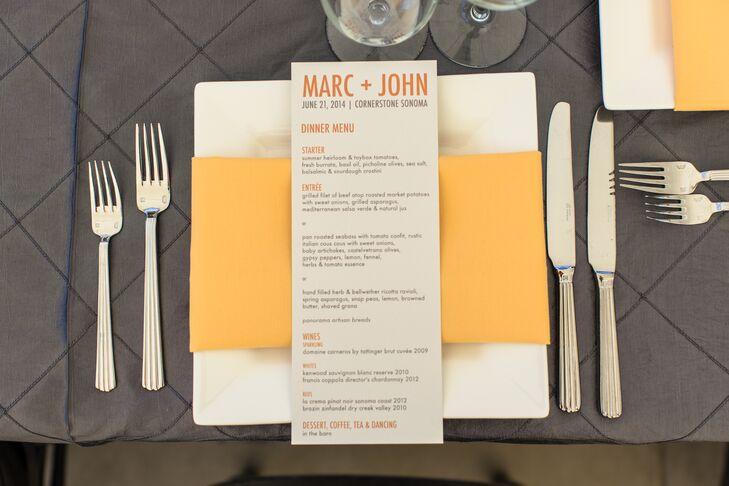 Orange and Ivory Dinnerware and Menu