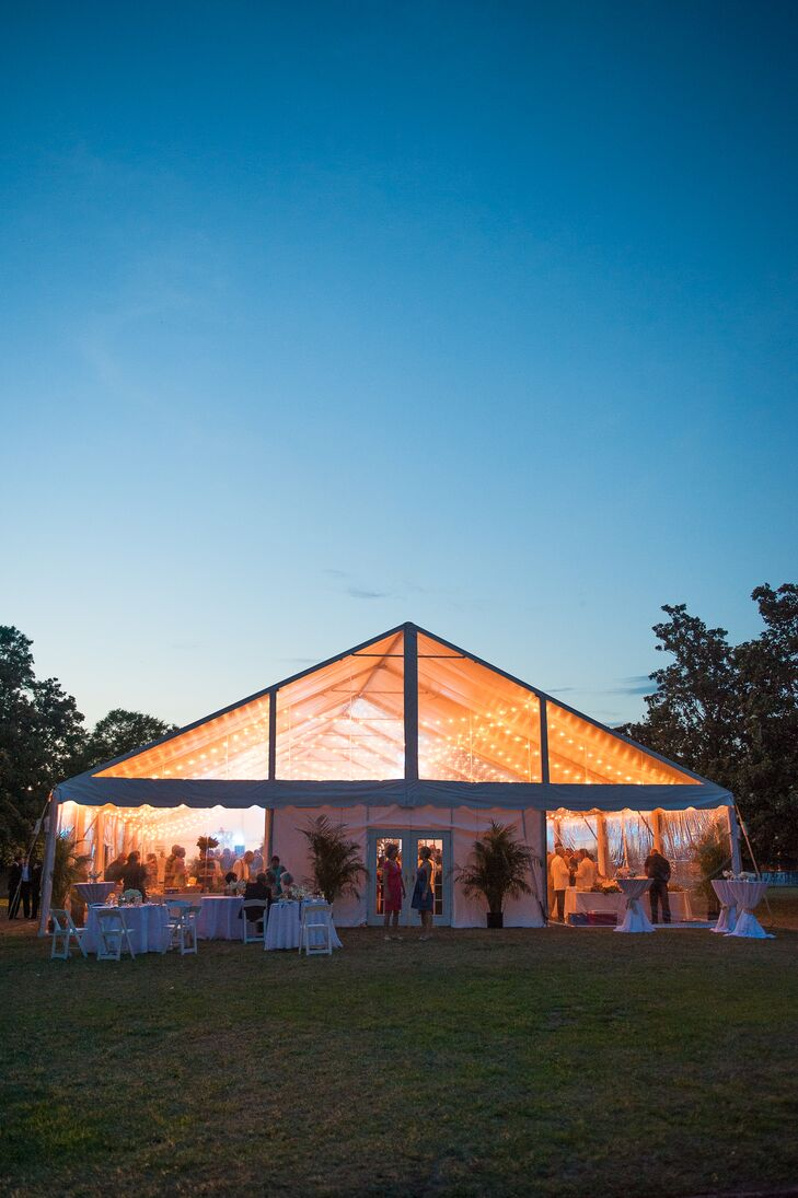 A Tented Reception With String Lights