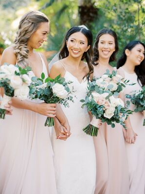Bridal Party in Blush Dresses for Wedding at Rancho Las Lomas in Silverado, California